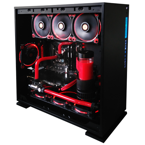 Gamer PC mit Hardtubed Wasserkühlung in rot