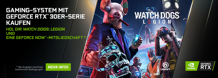 Banner Nvidia GF RTX 30-series watch dogs legion bundle
